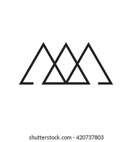 Triangle logo. Past, present, future. Minimal geometry. White background. Stock vector.