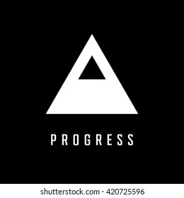 Triangle logo. Progress. Minimal geometry. Black background. Stock vector.