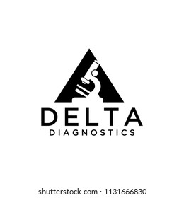 Triangle logo shape with negative space of a microscope