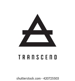 Triangle logo. Transcend. Minimal geometry. White background. Stock vector.