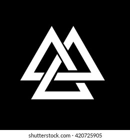 Triangle logo. Valknut is a Viking Age symbol, representing Norse warrior culture. Minimal geometry. Black background. Stock vector.