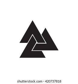 Triangle logo. Viking symbol.Minimal geometry. White background. Stock vector.