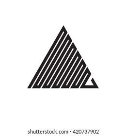 Triangle logo. Zig - zag. Minimal geometry. White background. Stock vector.