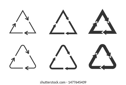 Triangle loop icon set on white background. Set of black recycling symbols. Triangular arrows sign set. Different triangles representing circulation. Design element.Vector illustration,flat,clip art.