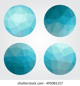 Triangle low poly circles set. Abstract business icons concept. Vector illustration