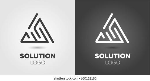 Triangle Maze Logo. Solution Symbol