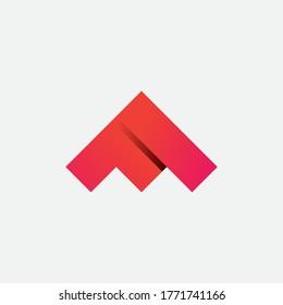 Triangle MF Monogram Logo Letter with Gradient Color Logo Design Template