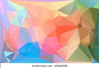 Triangle mosaic low polygonal abstract background. Vector illustration. Colorful polygon gradient futuristic horizontal pattern.