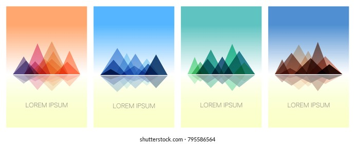 Triangle mountains ridges on colorful backgrounds. Set of stylish outdoor card templates. Abstract mountains in geometric style. Vector illustration for posters, banners, leaflets, emblems and logos.
