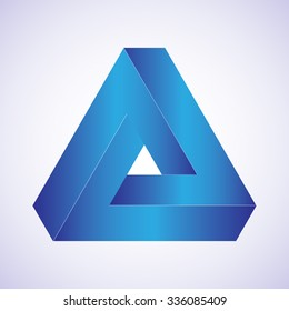 Triangle optical illusion blue on a white background. Vector illustration