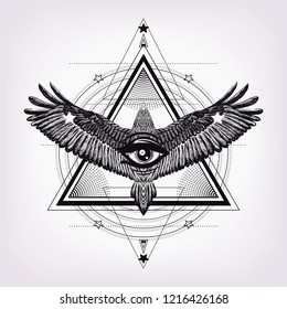 Triangle pattern with had drawn falcon. Sketch for print t shirt and tattoo art. coloring book.Sacred geometry. Masonic symbol. Eye of providance. boho chic. Astrology, alchemy, esoteric, occultism.