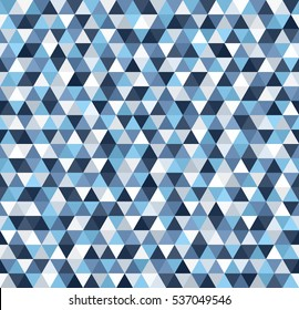 Triangle pattern. Seamless vector background. Blue, gray, white triangles