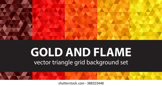 Triangle pattern set Gold and Flame. Vector seamless geometric backgrounds