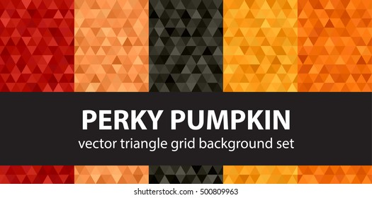 "Triangle pattern set ""Perky Pumpkin"". Vector seamless geometric backgrounds"