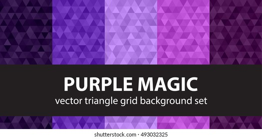 "Triangle pattern set ""Purple Magic"". Vector geometric backgrounds"