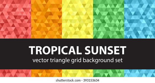 "Triangle pattern set ""Tropical Sunset"". Vector seamless geometric backgrounds"