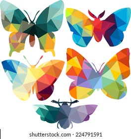 Triangle polygonal silhouettes of butterfly,  vector illustration