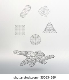triangle pyramid, Ball, Cube, capsule on the arm. Polygon triangle. Polygonal hand. Mesh polygonal background. Scope of lines and dots. Molecular lattice. The structural grid of polygons