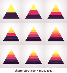 Triangle, pyramid with colored sections. Flat triangle, pyramid with 2, 3, 4, 5, 6, 7, 8, 9, 10 steps, options, parts. Vector triangle chart, diagram.