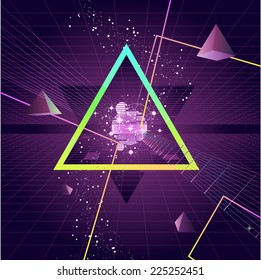 Triangle Pyramid futuristic Neo Retro Wave Style Background, vector illustration cartoon.