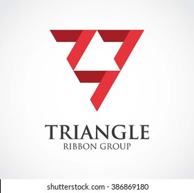 Triangle of ribbon group abstract vector and logo design or template flat line business icon of company identity symbol concept
