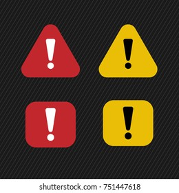 Triangle and rounded rectangle sign for warning - vector icon. orange and red sign