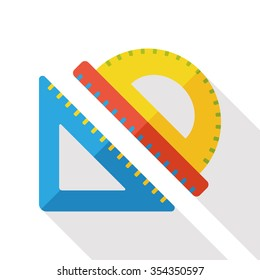 Triangle ruler flat icon