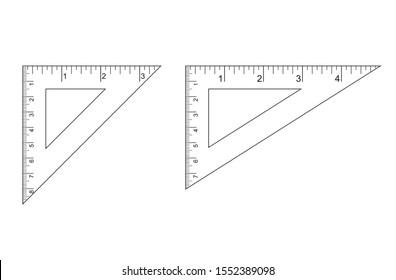 Triangle Ruler Square Set. Plastic School Drafting Drawing Right Angle Triangle Ruler. plastic triangular ruler  right angle  isosceles triangle vector