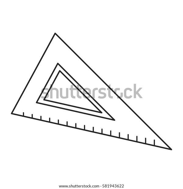 triangle ruler utensil icon thin line