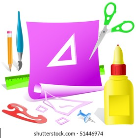 Triangle ruler. Vector paper template.