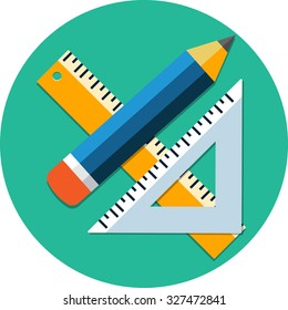 Triangle Ruler,Ruler And Pencil.Flat Icon