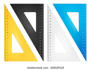 Triangle rulers in centimeters and millimeters. Vector illustration set.