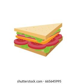 Triangle sandwich vector illustration.