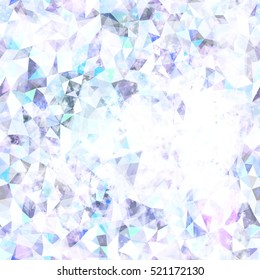 Triangle seamless pattern. White, blue, pink, grey. Abstract background texture. Like ice crystals. Watercolor effect