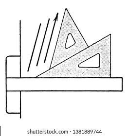 Triangle Set Up for 75 Degrees or 15 degrees with the vertical and scaled-up version of the smaller triangle, corners off' and placed them together, vintage line drawing or engraving illustration.
