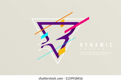 Triangle shape with abstract cut concept. creative futuristic poster idea. neon colors and shapes. isolated elements on bright background. great for banner, cover, web, page, social media, ad.