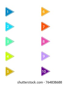 Triangle shaped number bullet point markers 1 to 10, vector illustration eps10
