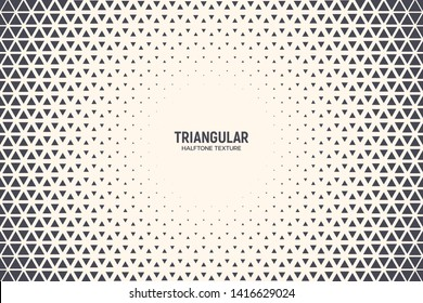 Triangle Shapes Vector Abstract Geometric Technology Background. Radial Composition Halftone Frame Triangular Retro Simple Pattern. Minimal Style Dynamic Tech Wallpaper