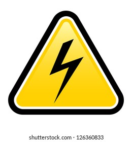 Triangle sign with high voltage symbol isolated on white