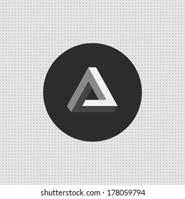 Triangle simple illusion logo. Penrose triangle icon. Impossible object. Vector.