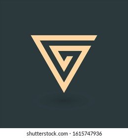 Triangle spiral geometric symbol. Tribal style abstract logo. Technology business identity concept. Creative corporate template. Stock Vector illustration isolated