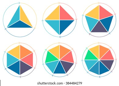 Triangle, square, pentagon, hexagon, heptagon, octagon for infographics with circular arrows.