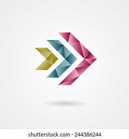 Triangle style arrow sign on a white background. Vector illustration