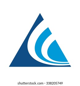 triangle as symbol of letter A and swoosh as symbol of letter C. logo vector.