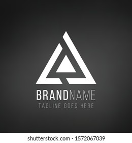 Triangle tech business logo design template. Stock Vector illustration isolated on black background.