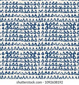 Triangle tie dye pattern. Shibori indigo background. Geometric china ink natural print. Organic vector japanese design. Watercolor indonesian tile. Triangle seamless pattern. Japan kimono print.