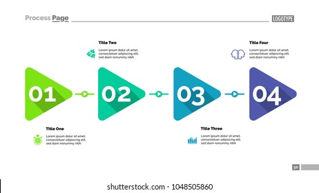 Triangle timeline chart with four steps. Process diagram, play sign, editable template. Creative concept for infographics, project, report. Can be used for topics like business, management, leadership