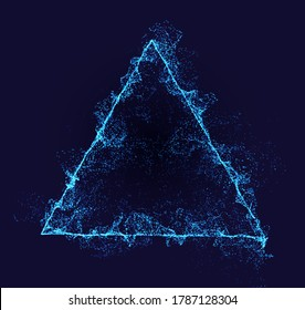 Triangle vector border. Neon particle flow. Smoked Pyramid shape. Technology background concept.