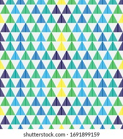 Triangle vector pattern with color combinations of shades of blue, green and yellow