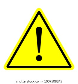 Triangle warning sign with pure yellow and black. Hazardous warning sign symbol
